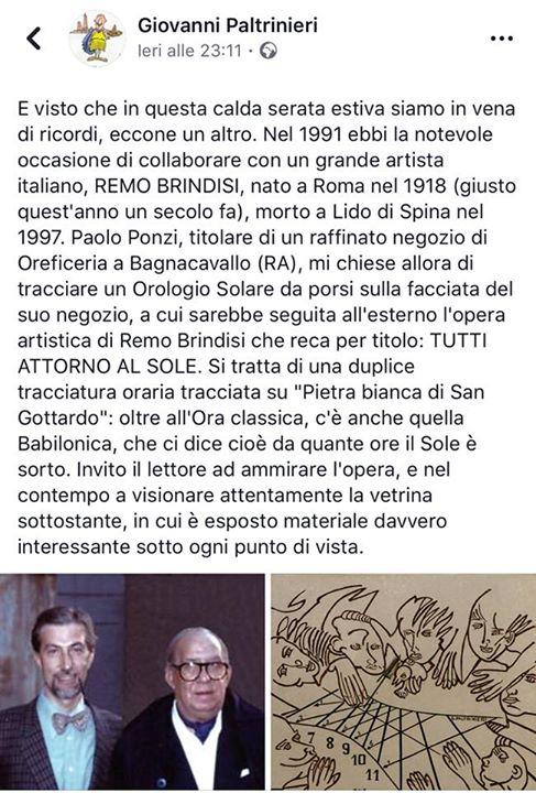 Condivido con piacere il ricordo del grande Gnomonista Giovanni Paltrinieri con …