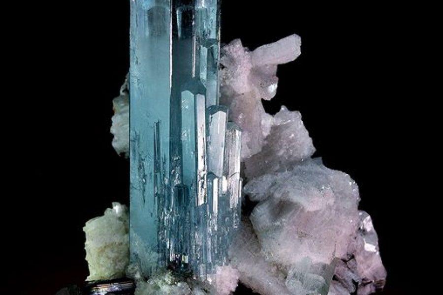 Aquamarine on Feldspar | #Geology #GeologyPage #Mineral  Locality: Shigar valley…